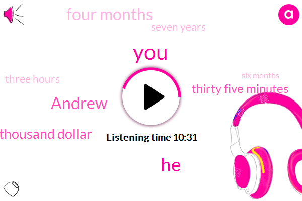 Andrew,Fifty Thousand Dollar,Thirty Five Minutes,Four Months,Seven Years,Three Hours,Six Months,Two Weeks
