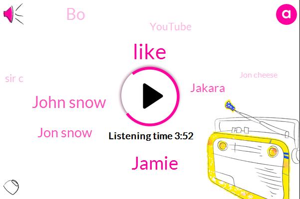 Jamie,John Snow,Jon Snow,Jakara,BO,Youtube,Sir C,Jon Cheese,REI,Dow Belykh,Mike,Sonya,One Hundred Percent,Seven Years