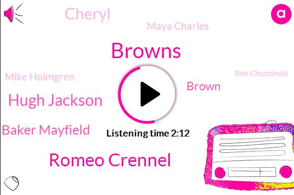Browns,Romeo Crennel,Hugh Jackson,Baker Mayfield,Brown,Cheryl,Maya Charles,Mike Holmgren,Rob Chudzinski,Michael Aubry,Romeo,Jack Daniels,Boyd,Tana