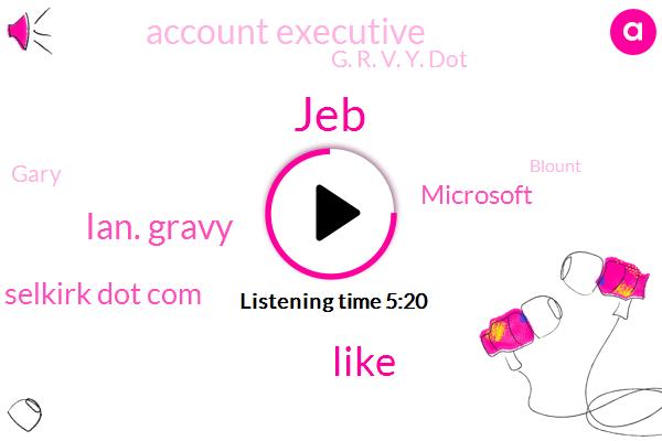 JEB,Ian. Gravy,Selkirk Dot Com,Microsoft,Account Executive,G. R. V. Y. Dot,Gary,Blount,Andy,AT,Louis,Anna,J. P. L. O. U. N. T. Blunt,Twitter