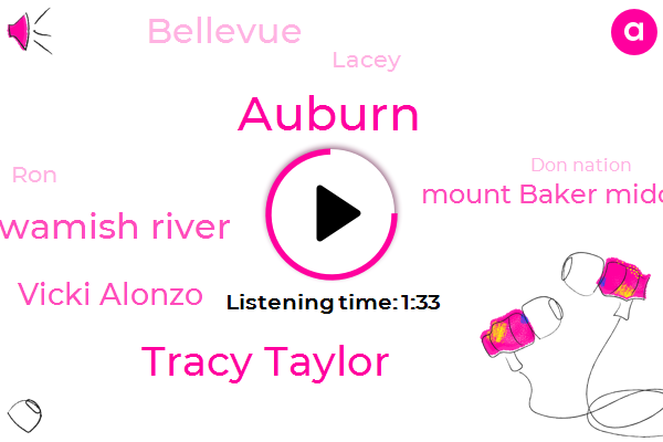 Kiro,Tracy Taylor,Auburn,Duwamish River,Vicki Alonzo,Mount Baker Middle School,Bellevue,Lacey,RON,Don Nation,Swan,Ten Minutes