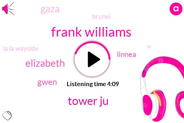 Frank Williams,Tower Ju,Elizabeth,Gwen,Linnea,Gaza,Brunei,La La Wayside