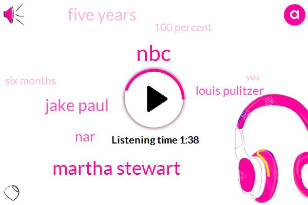 NBC,Martha Stewart,Jake Paul,NAR,Louis Pulitzer,Five Years,100 Percent,Six Months