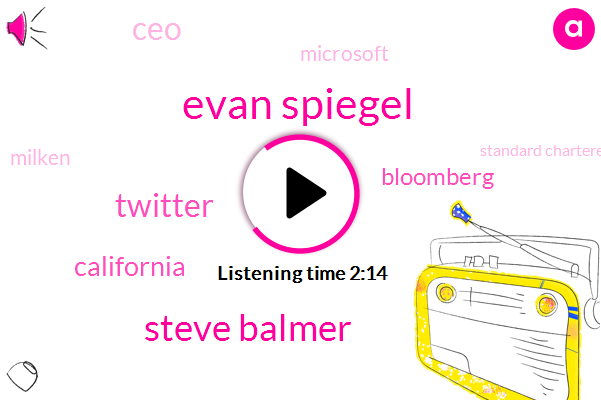 Evan Spiegel,Steve Balmer,Twitter,California,Bloomberg,CEO,Microsoft,Milken,Standard Chartered,Three Three Billion Dollars,Six Billion Dollars,Two Billion Dollars,Seven Percent,Nine Percent