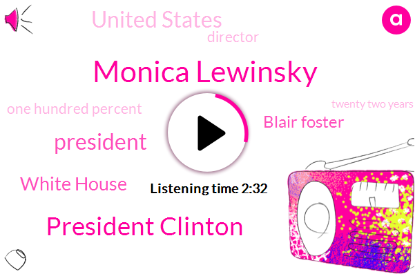 Monica Lewinsky,President Clinton,President Trump,White House,Blair Foster,United States,Director,One Hundred Percent,Twenty Two Years,Two Years