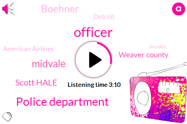 Officer,Police Department,Midvale,Scott Hale,Weaver County,Boehner,Detroit,American Airlines,Dry Skin,Stalking,Michigan,Supervisor,Boulder,Attorney,Three Hundred Dollar,One Hundred Dollars,Forty Nine Dollars