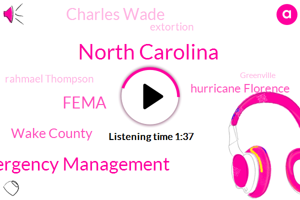 North Carolina,Federal Emergency Management,Fema,Wake County,Hurricane Florence,Charles Wade,Extortion,Rahmael Thompson,Greenville,Raleigh,Hendersonville,Chicago,Two Million Dollars,Four Months