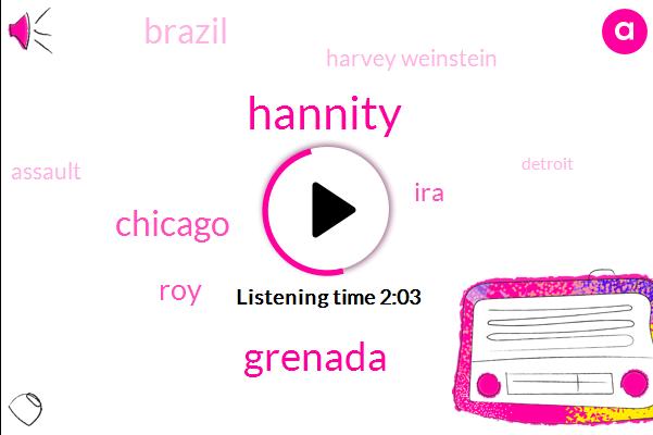 Hannity,Grenada,Chicago,ROY,IRA,Brazil,Harvey Weinstein,Assault,Detroit,Harassment,Karl Heinz,Hans Gruber,South America