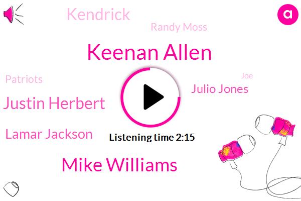 Keenan Allen,Mike Williams,Justin Herbert,Lamar Jackson,Julio Jones,Kendrick,Randy Moss,Patriots,JOE,Jones,Cam Newton,Nelson,Colts,New England,Titans,Chargers,Two Tackles,Born,8885 52 5 50,One Year