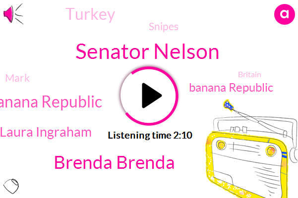 Senator Nelson,Brenda Brenda,Laura Banana Republic,Laura Ingraham,Banana Republic,Turkey,Snipes,Mark,Britain