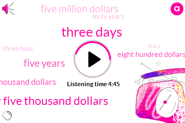 Three Days,Fifty Five Thousand Dollars,Five Years,Eleven Thousand Dollars,Eight Hundred Dollars,Five Million Dollars,Forty Years,Three Hour