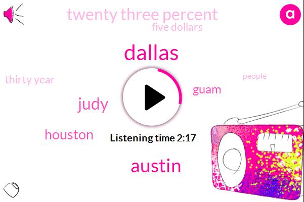 Dallas,Austin,Judy,Houston,Guam,Twenty Three Percent,Five Dollars,Thirty Year