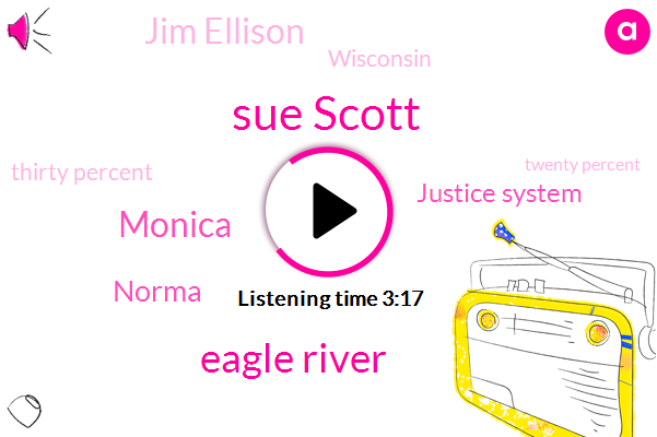 Sue Scott,Eagle River,Monica,Norma,Justice System,Jim Ellison,Wisconsin,Thirty Percent,Twenty Percent,Three Months,Two Weeks