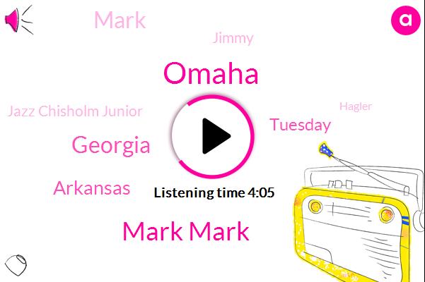 Omaha,Mark Mark,Georgia,Arkansas,Tuesday,Mark,Jimmy,Jazz Chisholm Junior,Hagler,Cubs,Lone Depot Park,Last Month,97 Degrees,Today,Macon, Georgia,Braves,Last August,First,16 Year,Both