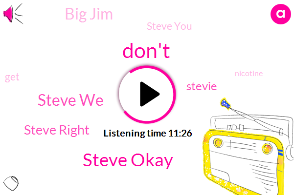 Steve,Steve Okay,Steve We,Steve Right,Big Jim,Stevie,Steve You,Nicotine,Gygi Jog,C. Pot,Donald I,United States,Stephen,Greco,Tony,CBS,Hans,Gosse,Paul