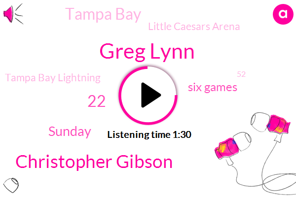 Greg Lynn,Christopher Gibson,22,Sunday,Six Games,Tampa Bay,Little Caesars Arena,Tampa Bay Lightning,52,TWO,21,Detroit,Dallas,March, 20Th Of 2018,NHL,Ellie,23 Shots,ONE,2016,Syria