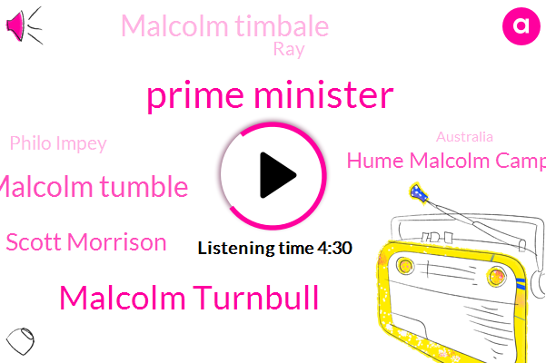 Prime Minister,Malcolm Turnbull,Malcolm Tumble,Scott Morrison,Hume Malcolm Campbell,Malcolm Timbale,RAY,Philo Impey,Australia,Conservative Party,Whitfield,Jack Lang,Steven Chabot,Football,Beck,ABC,Katie,Greg Hunt,Matisse Coleman,Estrada