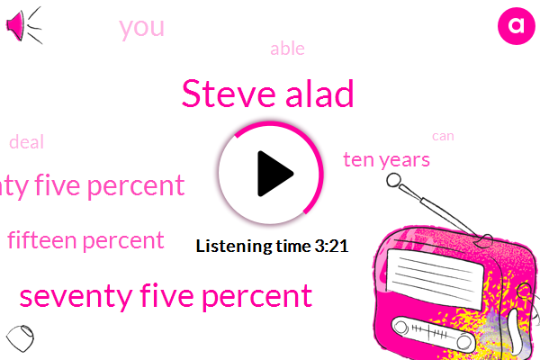 Steve Alad,Seventy Five Percent,Twenty Twenty Five Percent,Fifteen Percent,Ten Years
