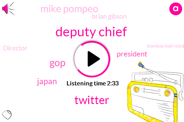 Deputy Chief,Twitter,GOP,Japan,President Trump,Mike Pompeo,Brian Gibson,Director,Bombay Bell Restaurant,Mississauga,Toronto,MAC,Libya,John Bolton,China,North Korea