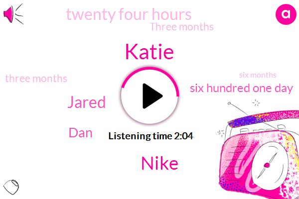 Katie,Nike,Jared,DAN,Six Hundred One Day,Twenty Four Hours,Three Months,Six Months,Two Months