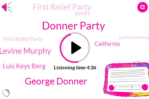 Donner Party,George Donner,Donner Levine Murphy,Luis Keys Berg,California,First Relief Party,Spotify,Third Relief Party,Lansford Hastings,Donna Reed,Charles Mcglashan,Truckee Lake,Theft,Carter,Sierra Nevada Mountain,Captain Tucker,Missouri,William Foster,Gangrene,James
