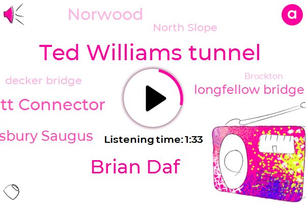 Ted Williams Tunnel,Brian Daf,Leverett Connector,Tewkesbury Saugus,Longfellow Bridge,Norwood,North Slope,Decker Bridge,Brockton,King Wbz,Subaru,Newton Corner,Nepal,Mike,St. The Expressway,Lexington,Medford,Lawrence,New England,Fifteen Seconds