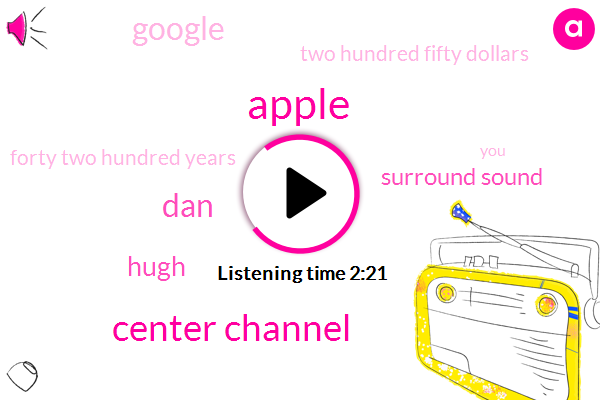Apple,Center Channel,DAN,Hugh,Surround Sound,Google,Two Hundred Fifty Dollars,Forty Two Hundred Years