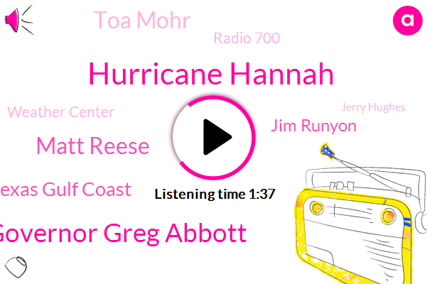 Hurricane Hannah,Governor Greg Abbott,Matt Reese,Texas Gulf Coast,Jim Runyon,Toa Mohr,Radio 700,Weather Center,Jerry Hughes,ABC,Indiana,Ohio,Cove,Cincinnati,Dallas