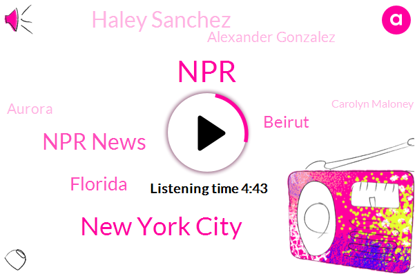 New York City,Npr News,Florida,NPR,Beirut,Haley Sanchez,Alexander Gonzalez,Aurora,Carolyn Maloney,Miami,Jack Spear,Colorado,Lebanon,Raj Patel,Nypd,Long Beach