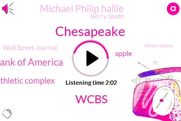 Chesapeake,Wcbs,Bank Of America,Ridley Athletic Complex,Apple,Michael Philip Hallie,Kerry Speth,Wall Street Journal,Dover Downs,Syracuse,Peabody Institute Of Baltimore,Jimmy Kosolapov,Georgetown,Cornell,American Airlines,Wedbush,FOX,Analyst,Talkradio