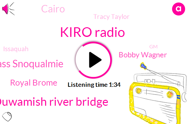 Kiro Radio,Kiro,Duwamish River Bridge,Snoqaulmie Pass Snoqualmie,Royal Brome,Bobby Wagner,Cairo,Tracy Taylor,Issaquah,GM,Benson,Southcenter,Heather