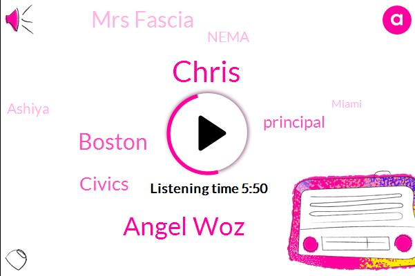 Angel Woz,Chris,Boston,Civics,Principal,Mrs Fascia,Nema,Ashiya,Miami,Superintendent