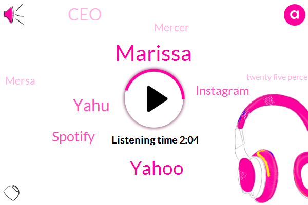 Marissa,Yahoo,Yahu,Spotify,Instagram,CEO,Mercer,Mersa,Twenty Five Percent,Five Years,Six Months