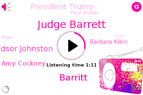 Judge Barrett,Supreme Court,Barritt,Windsor Johnston,Amy Cockney,Senate,NPR,Barbara Klein,President Trump,Washington,Paul Butler,Professor,ROE,Wade