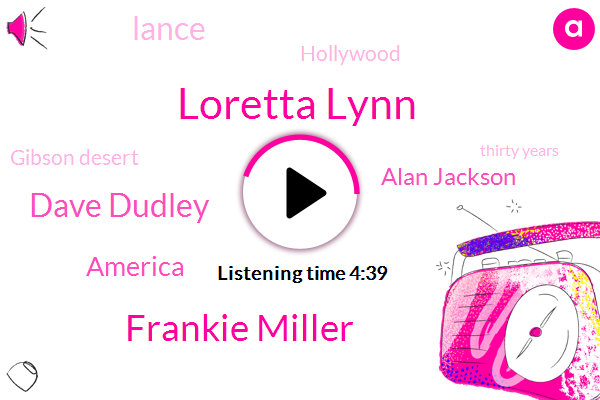Loretta Lynn,Frankie Miller,Dave Dudley,America,Alan Jackson,Lance,Hollywood,Gibson Desert,Thirty Years,Two Weeks,Six Days