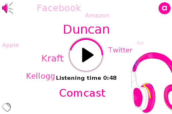Comcast,Kraft,Kellogg,Duncan,Twitter,Facebook,Amazon,Apple