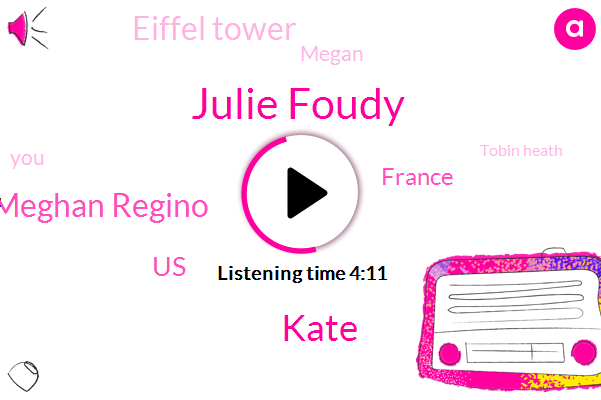 Julie Foudy,Kate,Meghan Regino,United States,France,Eiffel Tower,Megan,Tobin Heath,Soccer,Spain,Bill,Paris,Jillian,Julian Laurent,Roosevelt,Morgan,Five Minutes,Sixty Fifth