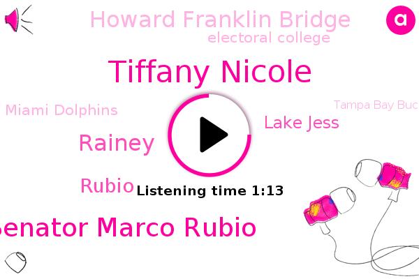 Lake Jess,Tiffany Nicole,U. S. Senator Marco Rubio,Sanford,Rainey,Howard Franklin Bridge,Florida,Electoral College,Rubio,Miami,Tampa Bay,Miami Dolphins,Tampa Bay Buccaneers,Buffalo,Falcons