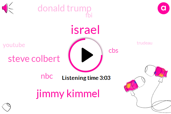 Israel,Jimmy Kimmel,Steve Colbert,NBC,CBS,Donald Trump,FBI,Youtube,Trudeau,Phil Un,America,ABC,Democrat Party,Barack Obama,Danny