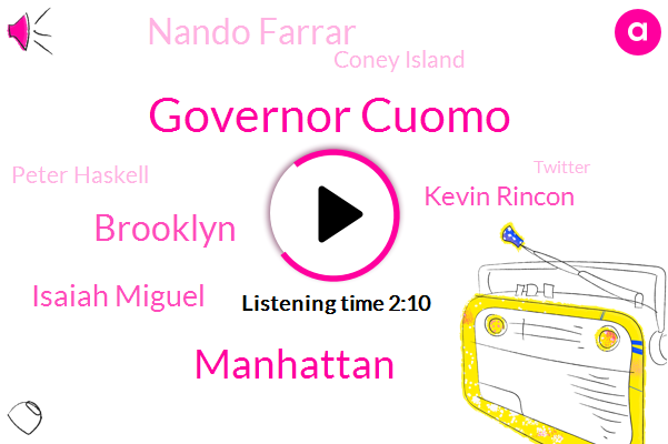 Governor Cuomo,Manhattan,Brooklyn,Isaiah Miguel,Kevin Rincon,Nando Farrar,Coney Island,Peter Haskell,Twitter,Robbery,Cornell,MTA,Acting Chair,United States,CBS,Columbia,Reporter,Six One Hundred Sixty Pounds,Thirty Eight Degrees,Thirty Six Year