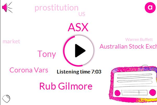 ASX,Rub Gilmore,Tony,Corona Vars,Australian Stock Exchange,Prostitution,United States,Warren Buffett,ATF,Elliott,GMC,ROY,Nairobi,New York,Italy