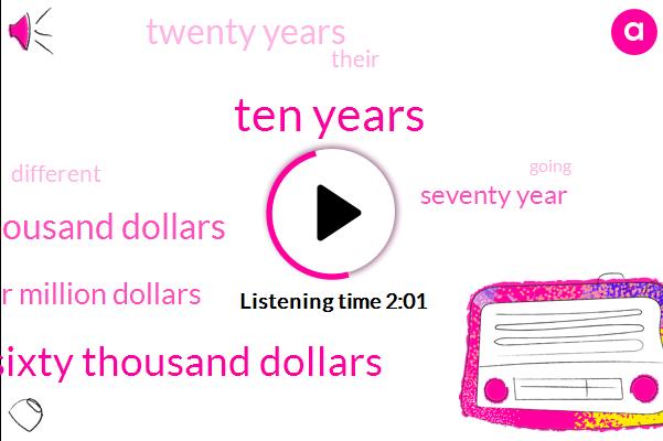 Ten Years,Six Hundred Sixty Thousand Dollars,Three Hundred Thousand Dollars,Four Million Dollars,Seventy Year,Twenty Years