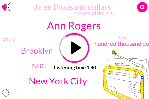 Ann Rogers,New York City,Brooklyn,NBC,Hundred Thousand Dollars,Three Thousand Dollars,Thousand Dollars