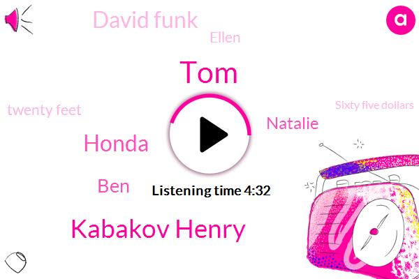 TOM,Kabakov Henry,Honda,BEN,Natalie,David Funk,Ellen,Twenty Feet,Sixty Five Dollars,Forty Yards,Ten Minutes,Six Inches