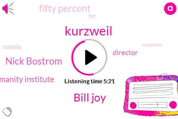 Kurzweil,Bill Joy,Nick Bostrom,Humanity Institute,Director,Fifty Percent
