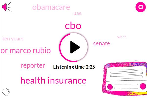 CBO,Health Insurance,Senator Marco Rubio,Reporter,Senate,Obamacare,UAE,Ten Years