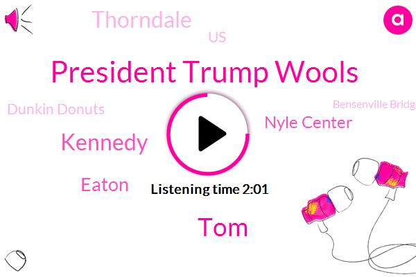 President Trump Wools,TOM,Kennedy,Eaton,Nyle Center,Thorndale,United States,Dunkin Donuts,Bensenville Bridge,Austin Stevenson,Cook County,John Dempsey,Dan Ryan,Demps