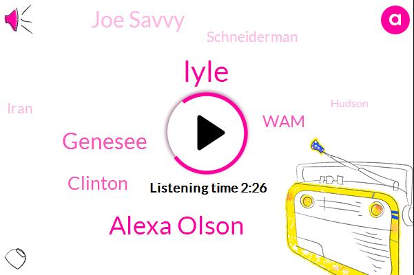 Lyle,Alexa Olson,Genesee,Clinton,WAM,Joe Savvy,BOB,Schneiderman,Iran,Hudson,Jefferson