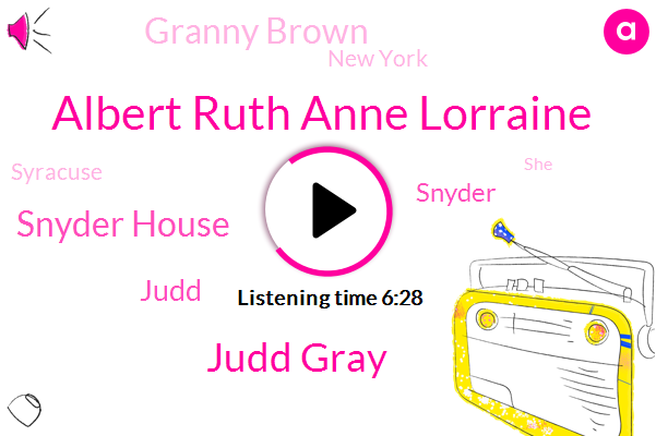 Albert Ruth Anne Lorraine,Judd Gray,Snyder House,Judd,Snyder,Granny Brown,New York,Syracuse,Chad,Engineer,Onondaga,Billy,John,Greeny Brown,Albany,Blue