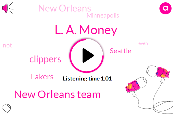 Seattle,L. A. Money,New Orleans Team,Clippers,New Orleans,Lakers,Minneapolis